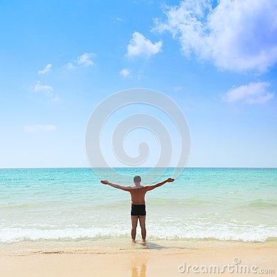 Man stands in the sea