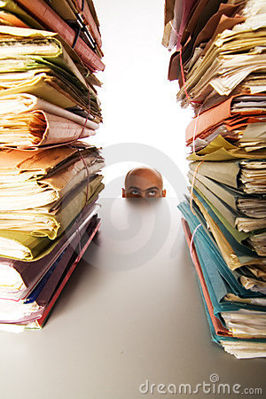 Free Man Stares At Files Stock Images - 2183114