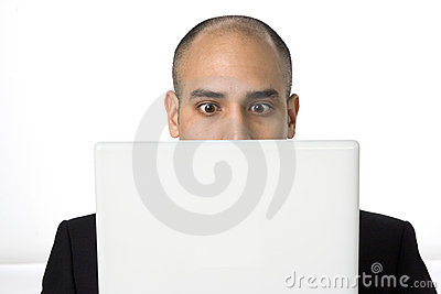 Man stares at his laptop screen