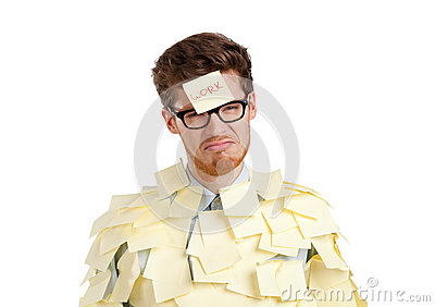 Man with a sticky note on his face