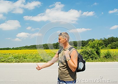 Man stops a cars