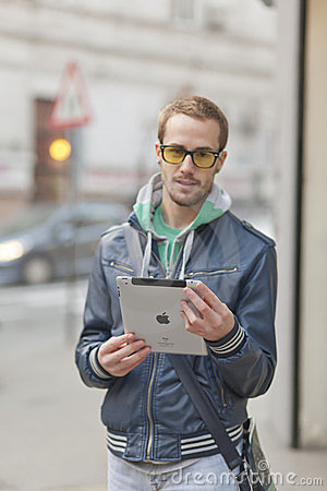 Man On Street Use Ipad Tablet Computer Editorial Stock Photo