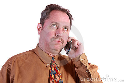 Man Stressed on Cell Phone
