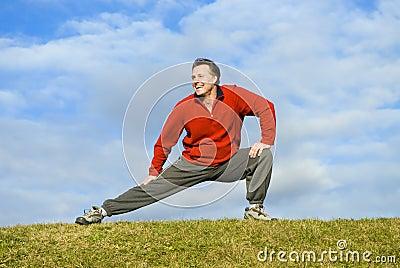 Man stretching.