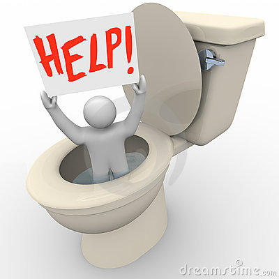 Man Stuck in Toilet Holding Help Sign
