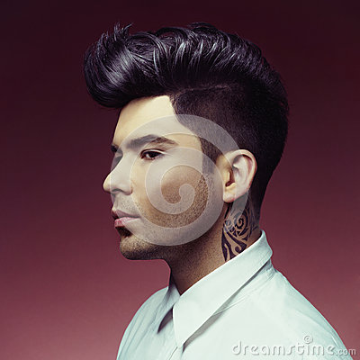 Man with stylish haircut
