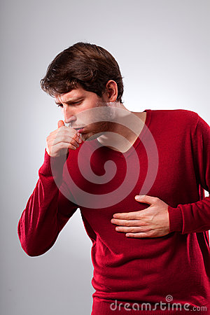 Free Man Suffering From Strong Cough Stock Image - 39495351