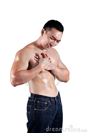 Man suffering from pain in the chest