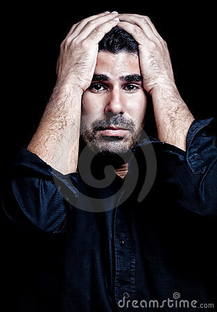 Man suffering stress isolated on black