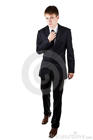 Man in suit accuracy walk forward