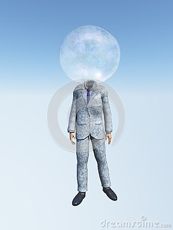 Man in suit with Bubble head