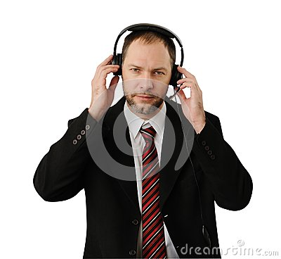 Man in suit with headset