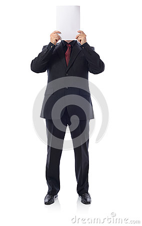 Man in suit holding blanck paper