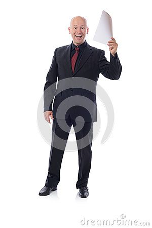 Man in suit holding good news