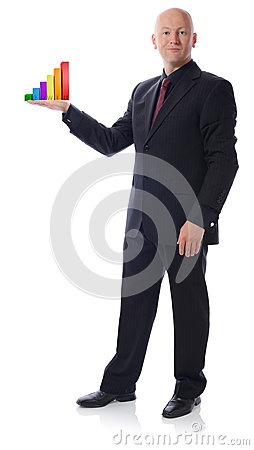 Man in suit holding growth chart