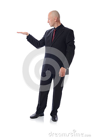 Man in suit holding space