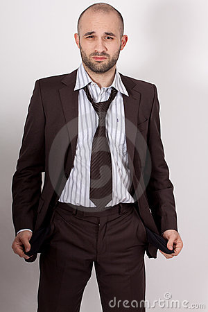 Man with suit is poor