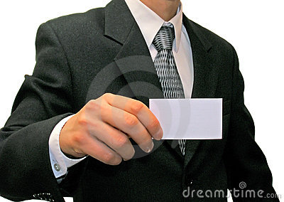 Man in suit with visiting card