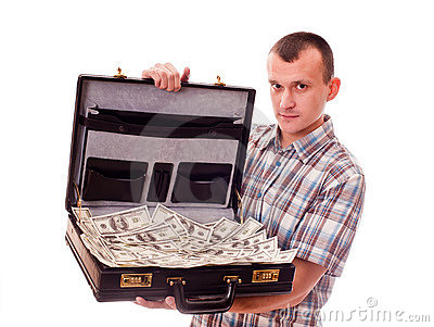 Man with suitcase full of money