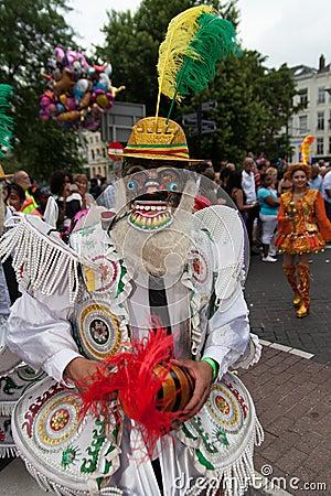 Man in summer carnival parade 2012 Editorial Stock Image