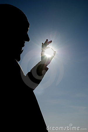 the man with the sun in the hands