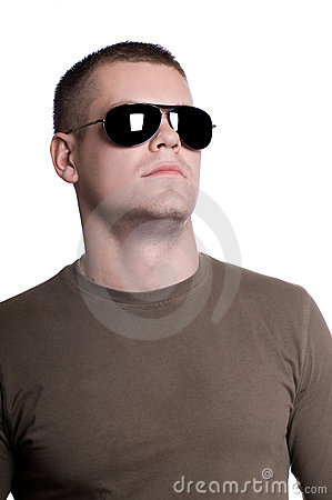 Man in sunglasses isolated on white