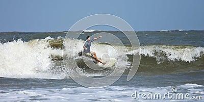Man surfing in the atlantic