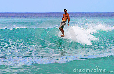Man Surfing at Waikiki Beach, Honolulu Hawaii Editorial Image
