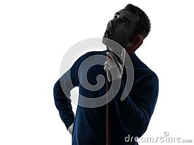 Man surprise on the phone silhouette portrait