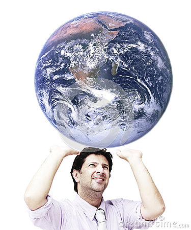 Free Man Sustaining The World (world Image Is From NASA) Stock Photography - 45181682