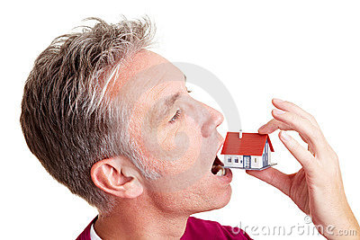 Man swallowing small home