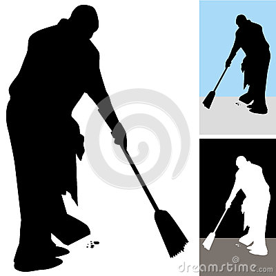 Man Sweeping Floors