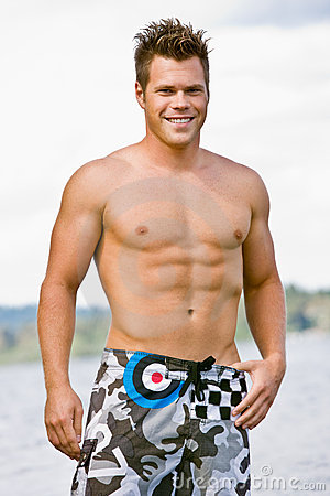 Man in swim trunks
