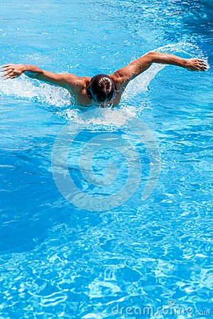 A man in the swimming pool
