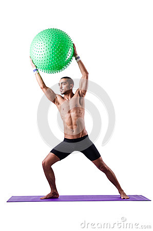 Man with swiss ball