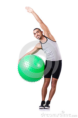 Man with swiss ball doing exercises