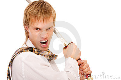 Man with sword protects business