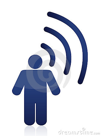 Man with symbol of wifi connection