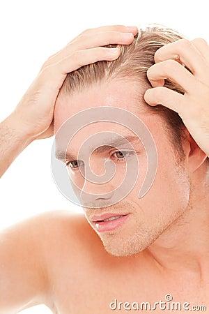 Man take care of his hair