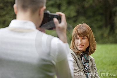 Man takes a picture from model