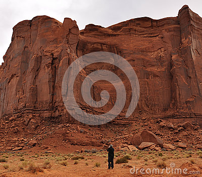 Man Taking A Photograph Of The Rain God Mesa Royalty Free Stock Photo