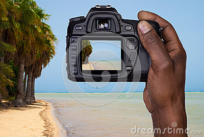 Man taking a picture of a beach