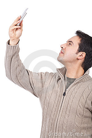 Man taking pictures with his cellphone