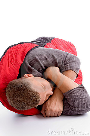 Man taking rest in his sleeping bag