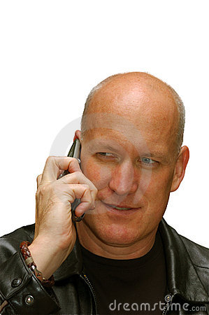 Man talking on a cell phone (on white)