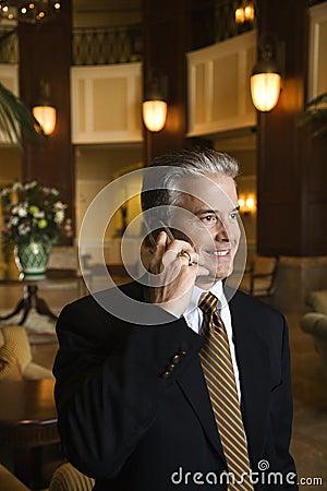 Man talking on cellphone.