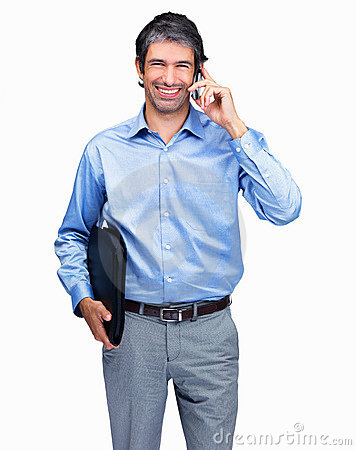 Man talking on cellphone and holding a folder