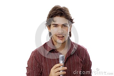 Man talking by microphone