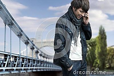Man talking over cellphone