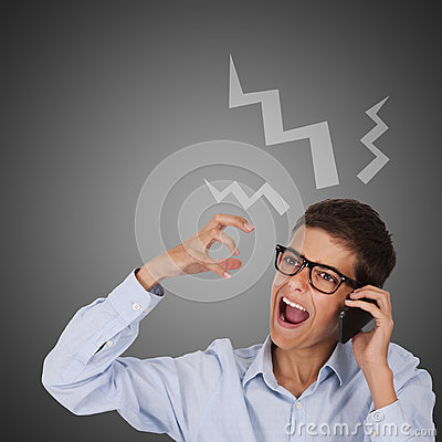 Man talking by phone and screaming